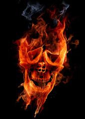 Tête de mort enflammée